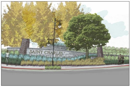 The River Wall Gateway will serve as the new entry way into the City of Saint Charles.