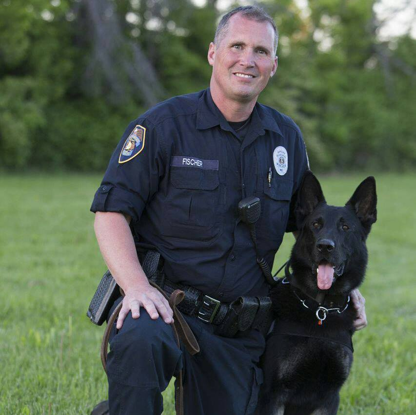 Officer with training dog