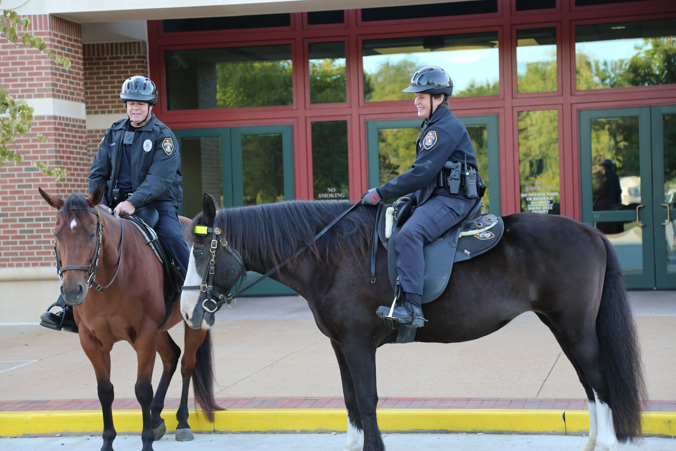 Two officers on horses